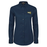 Ladies Navy Twill Button Down Long Sleeve-NAU Lumberjacks
