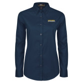 Ladies Navy Twill Button Down Long Sleeve-Northern Arizona University Stacked