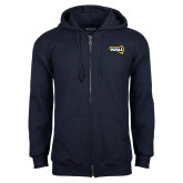 Navy Fleece Full Zip Hoodie-NAU Primary Mark