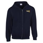Navy Fleece Full Zip Hoodie-NAU Primary Mark