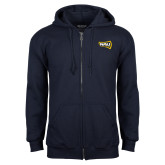 Navy Fleece Full Zip Hoodie-NAU Lumberjacks