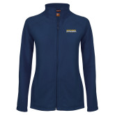 Ladies Fleece Full Zip Navy Jacket-Northern Arizona University Stacked