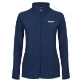 Ladies Fleece Full Zip Navy Jacket-Northern Arizona University Stacked