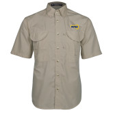 Khaki Short Sleeve Performance Fishing Shirt-NAU Primary Mark