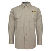 Khaki Long Sleeve Performance Fishing Shirt-NAU Primary Mark