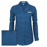 Ladies Red House Deep Blue Herringbone Non Iron Long Sleeve Shirt-NAU