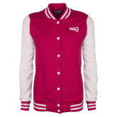 Ladies Pink Raspberry/White Fleece Letterman Jacket-NAU Primary Mark