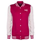 Ladies Pink Raspberry/White Fleece Letterman Jacket-NAU Primary Mark