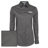 Ladies Grey Tonal Pattern Long Sleeve Shirt-NAU