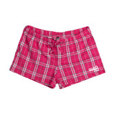 Ladies Dark Fuchsia/White Juniors Flannel Plaid Boxer-NAU Primary Mark