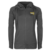 Ladies Sport Wick Stretch Full Zip Charcoal Jacket-NAU Lumberjacks