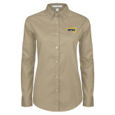 Ladies Khaki Twill Button Down Long Sleeve-NAU Primary Mark