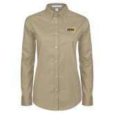 Ladies Khaki Twill Button Down Long Sleeve-NAU Lumberjacks