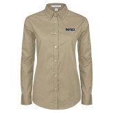 Ladies Khaki Twill Button Down Long Sleeve-NAU