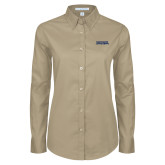 Ladies Khaki Twill Button Down Long Sleeve-Northern Arizona University Stacked