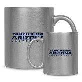 11oz Silver Metallic Ceramic Mug-Northern Arizona University Stacked