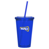 Madison Double Wall Blue Tumbler w/Straw 16oz-NAU Primary Mark