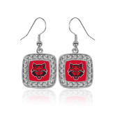 Crystal Studded Square Pendant Silver Dangle Earrings-Red Wolf Head