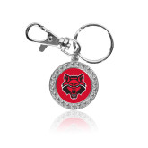 Crystal Studded Round Key Chain-Red Wolf Head