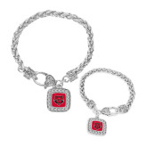 Silver Braided Rope Bracelet With Crystal Studded Square Pendant-Red Wolf Head