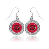 Crystal Studded Round Pendant Silver Dangle Earrings-Red Wolf Head