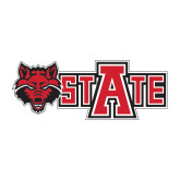 Medium Decal-Red Wolf Head w/A State, 8 in wide