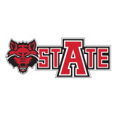 Large Decal-Red Wolf Head w/A State, 12 in wide