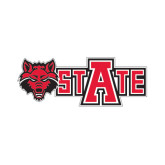 Small Decal-Red Wolf Head w/A State, 6 in W
