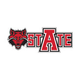 Small Decal-Red Wolf Head w/A State, 6 in wide