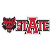 Extra Large Decal-Red Wolf Head w/A State, 18 in wide