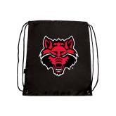 Nylon Black Drawstring Backpack-Red Wolf Head