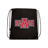 Nylon Black Drawstring Backpack-A State
