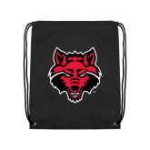 Black Drawstring Backpack-Red Wolf Head