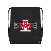 Nylon Black Drawstring Backpack-A State