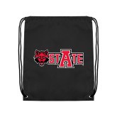Nylon Black Drawstring Backpack-Red Wolf Head w/A State