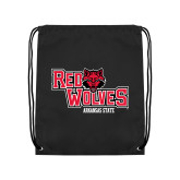 Black Drawstring Backpack-Red Wolves Stacked Head Centered