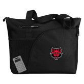 Excel Black Sport Utility Tote-Red Wolf Head