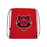 Nylon Red Drawstring Backpack-Red Wolf Head