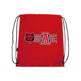 Nylon Red Drawstring Backpack-Red Wolf Head w/A State