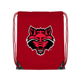 Red Drawstring Backpack-Red Wolf Head
