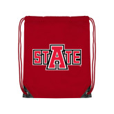 Nylon Red Drawstring Backpack-A State