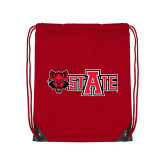 Red Drawstring Backpack-Red Wolf Head w/A State