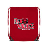 Red Drawstring Backpack-Red Wolves Stacked Head Centered
