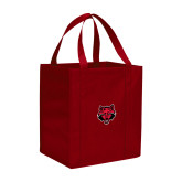 Non Woven Red Grocery Tote-Red Wolf Head