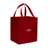 Non Woven Red Grocery Tote-Red Wolf Head w/A State