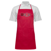 Full Length Red Apron-Red Wolf Head w/A State