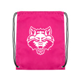 Nylon Pink Drawstring Backpack-Red Wolf Head