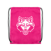 Pink Drawstring Backpack-Red Wolf Head