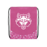 Nylon Pink Bubble Patterned Drawstring Backpack-Red Wolf Head