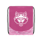 Nylon Zebra Pink/White Patterned Drawstring Backpack-Red Wolf Head